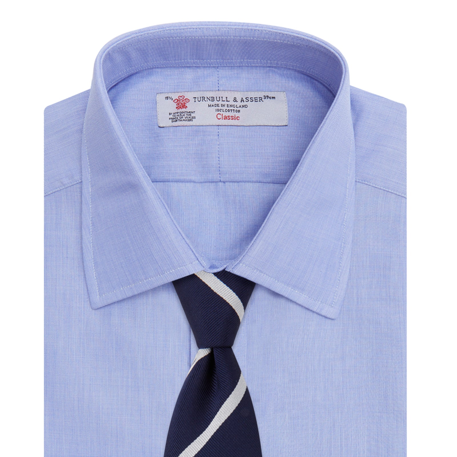 Blue End-on-End Cotton Shirt with T&A Collar and 3-Button Cuffs