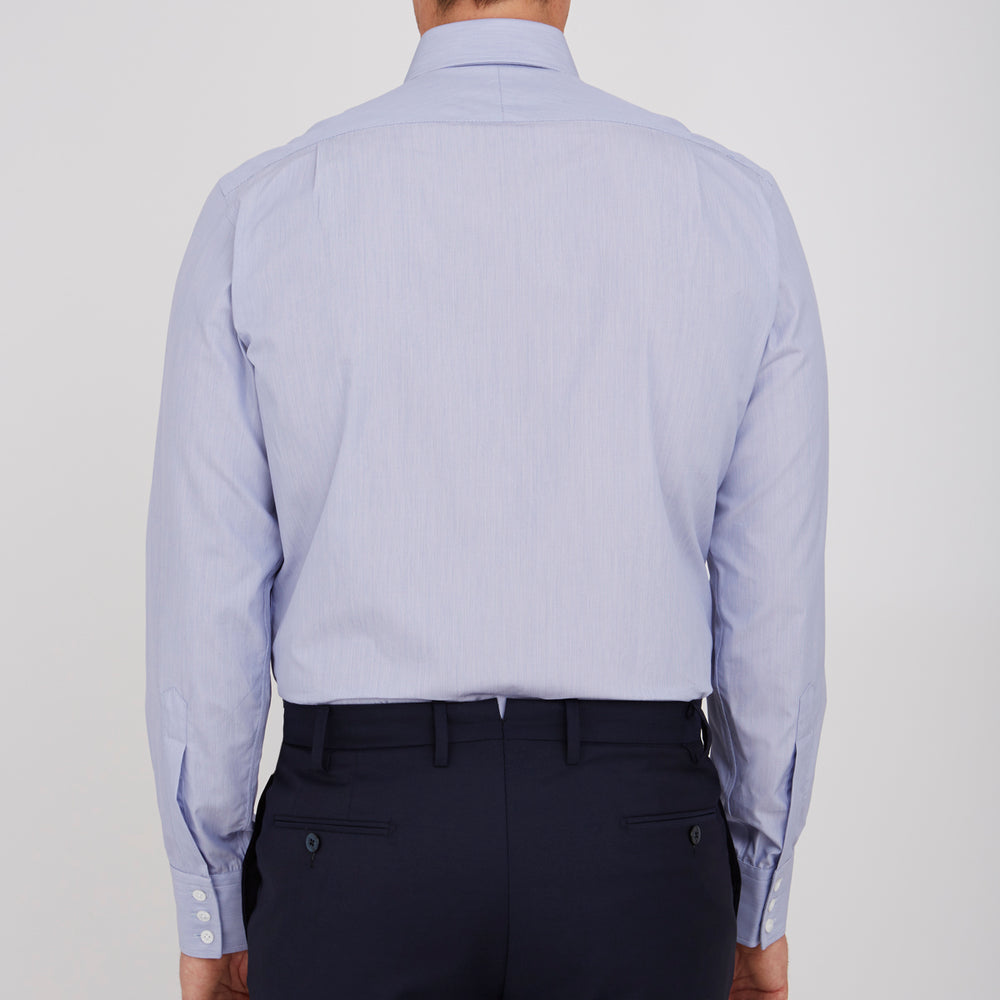 Blue Hairline Stripe Shirt with T&A Collar and 3-Button Cuffs