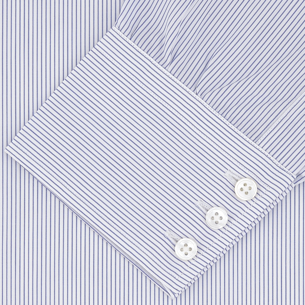 Blue and White Fine Stripe Shirt with T&A Collar and 3-Button Cuffs
