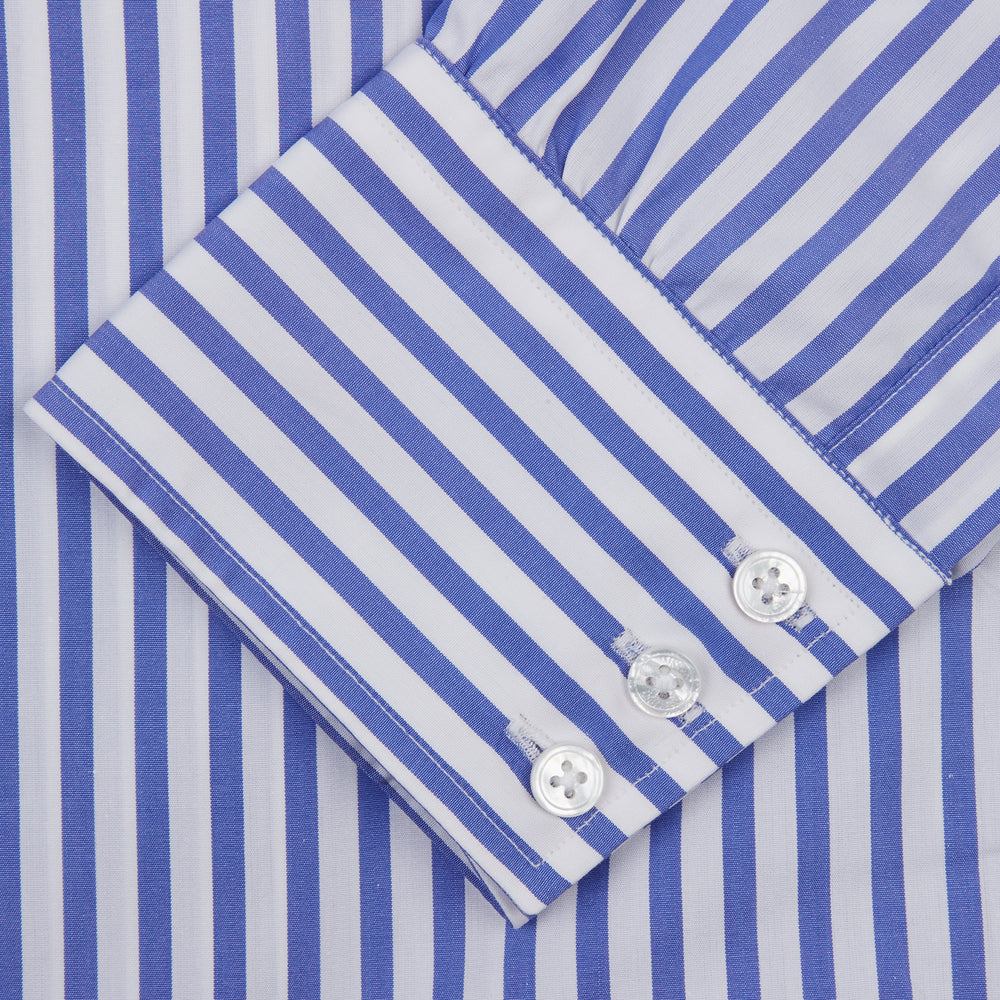 Blue and White Candy Stripe Shirt with T&A Collar and 3-Button Cuffs