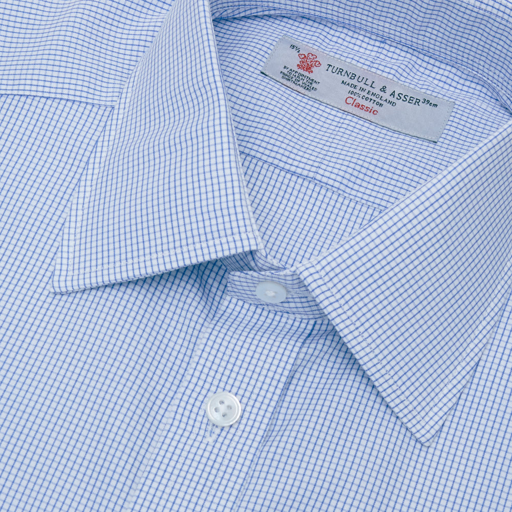 Blue Grid Check Shirt with T&A Collar and 3-Button Cuffs