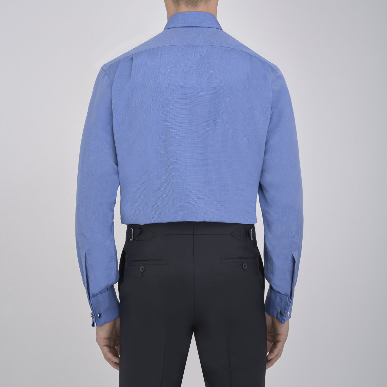 Dark Blue End-on-End Shirt with T&A Collar and Double Cuffs