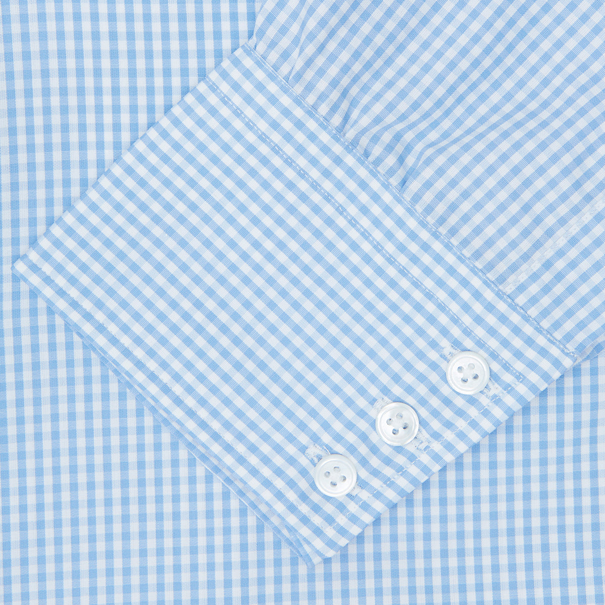 Light Blue Gingham Check Shirt with T&A Collar and 3-Button Cuffs