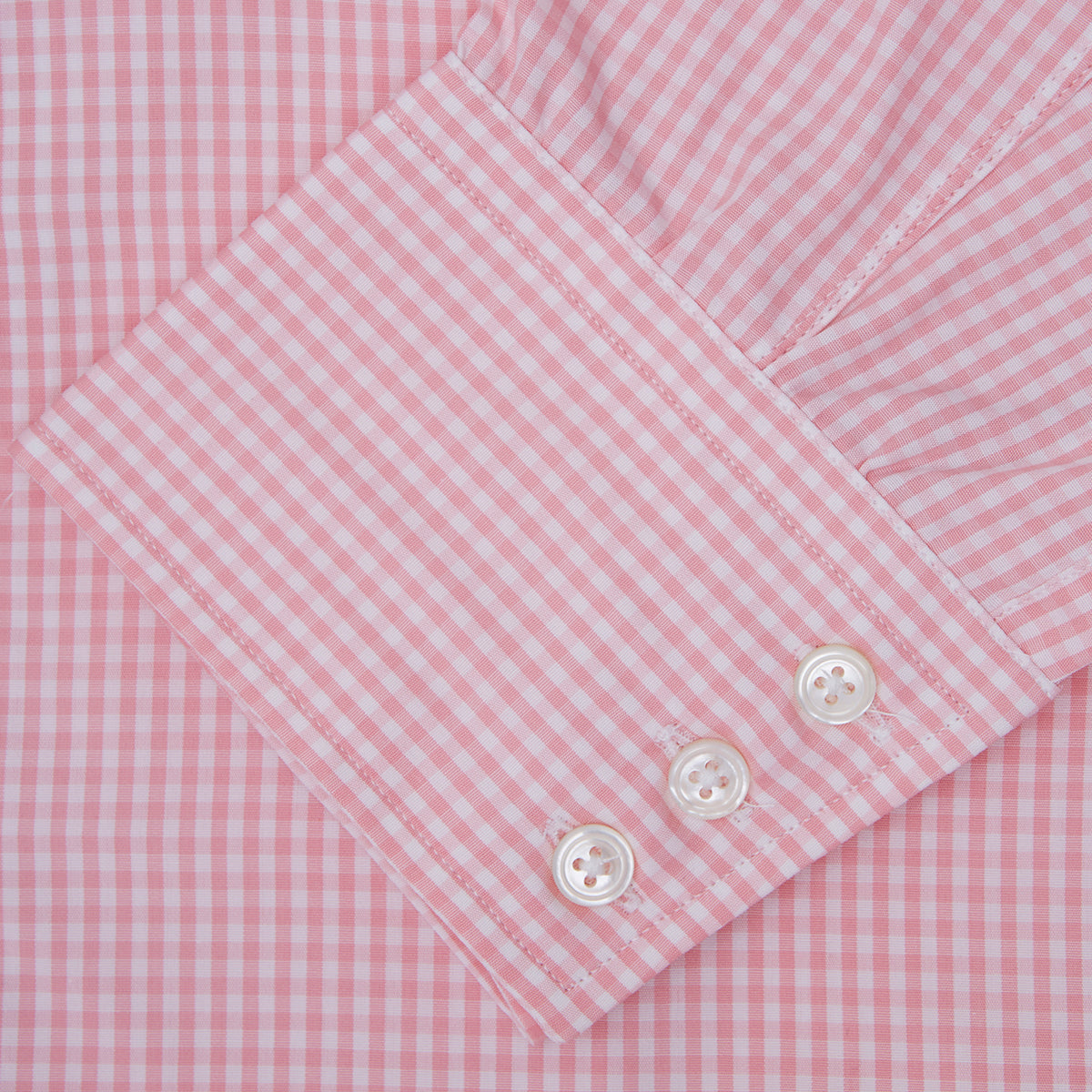 Light Pink Gingham Check Shirt with T&A Collar and 3-Button Cuffs