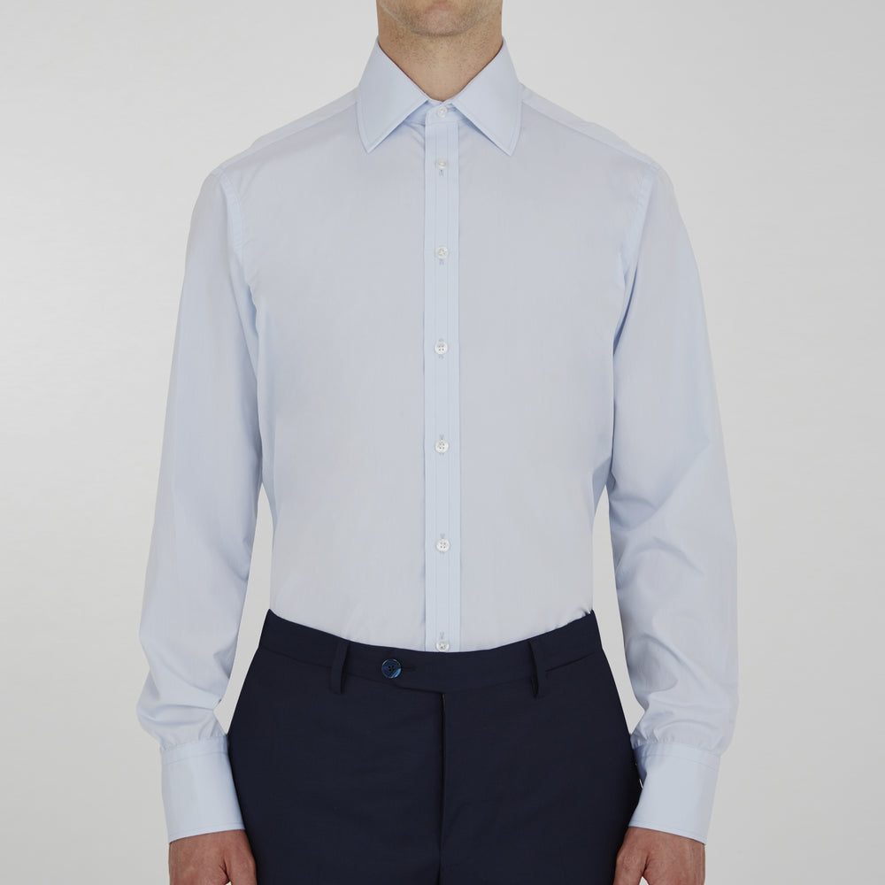 Two-Fold 120 Light Blue Shirt with T&A Collar and 3-Button Cuffs
