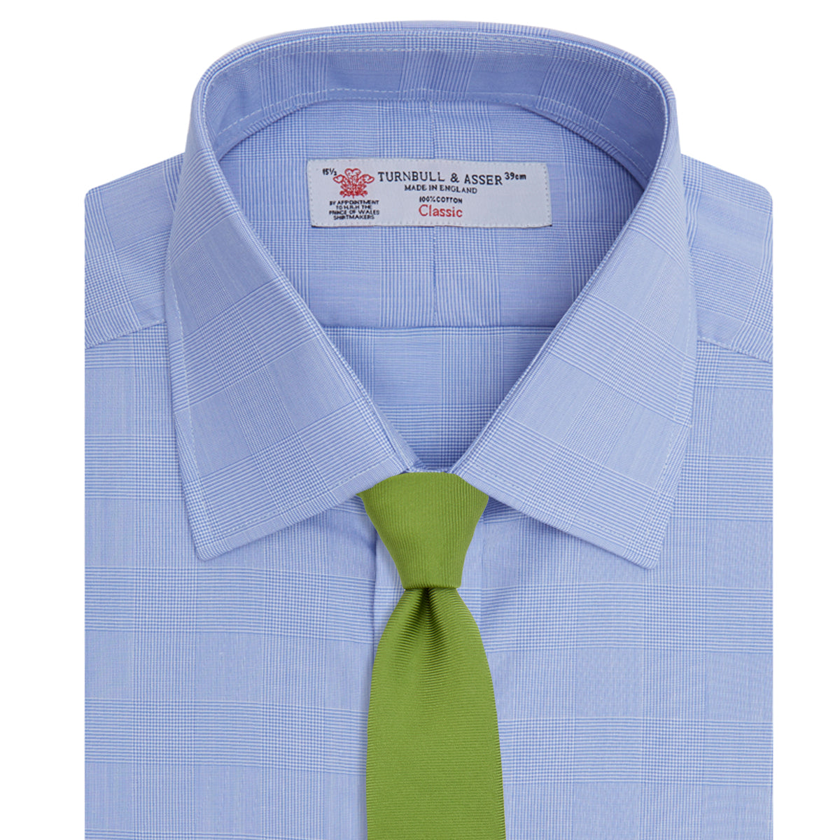 Blue Prince of Wales Check Shirt with T&A Collar and Double Cuffs
