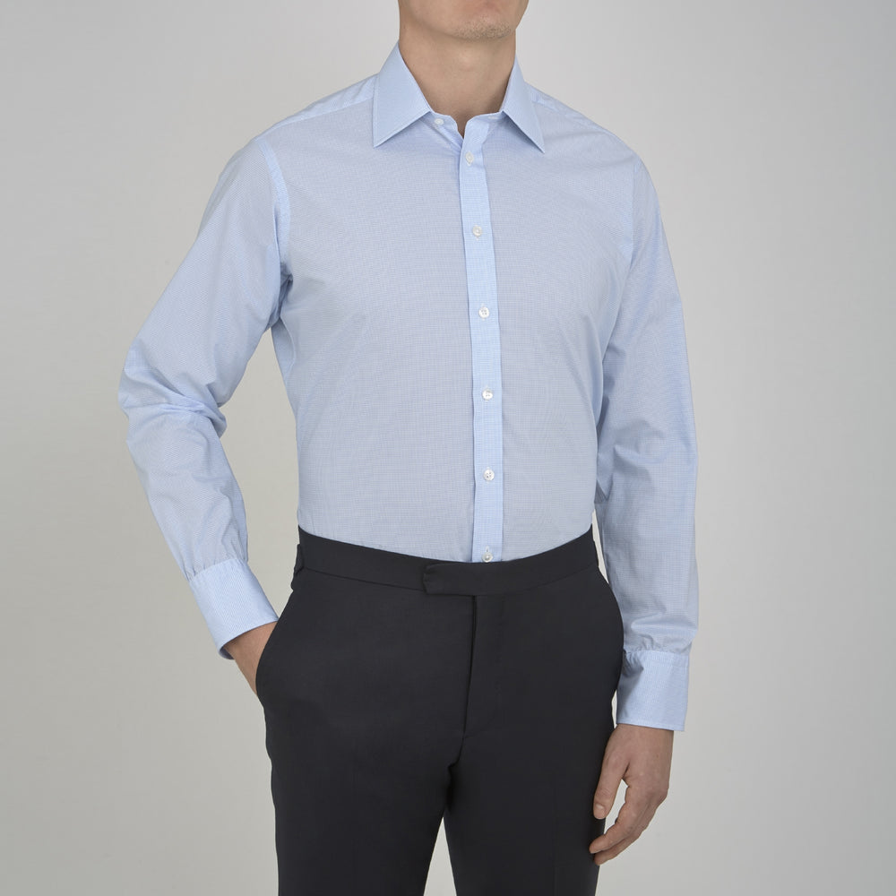 Sky Blue Micro-Check Cotton Shirt with T&A Collar and 3-Button Cuffs