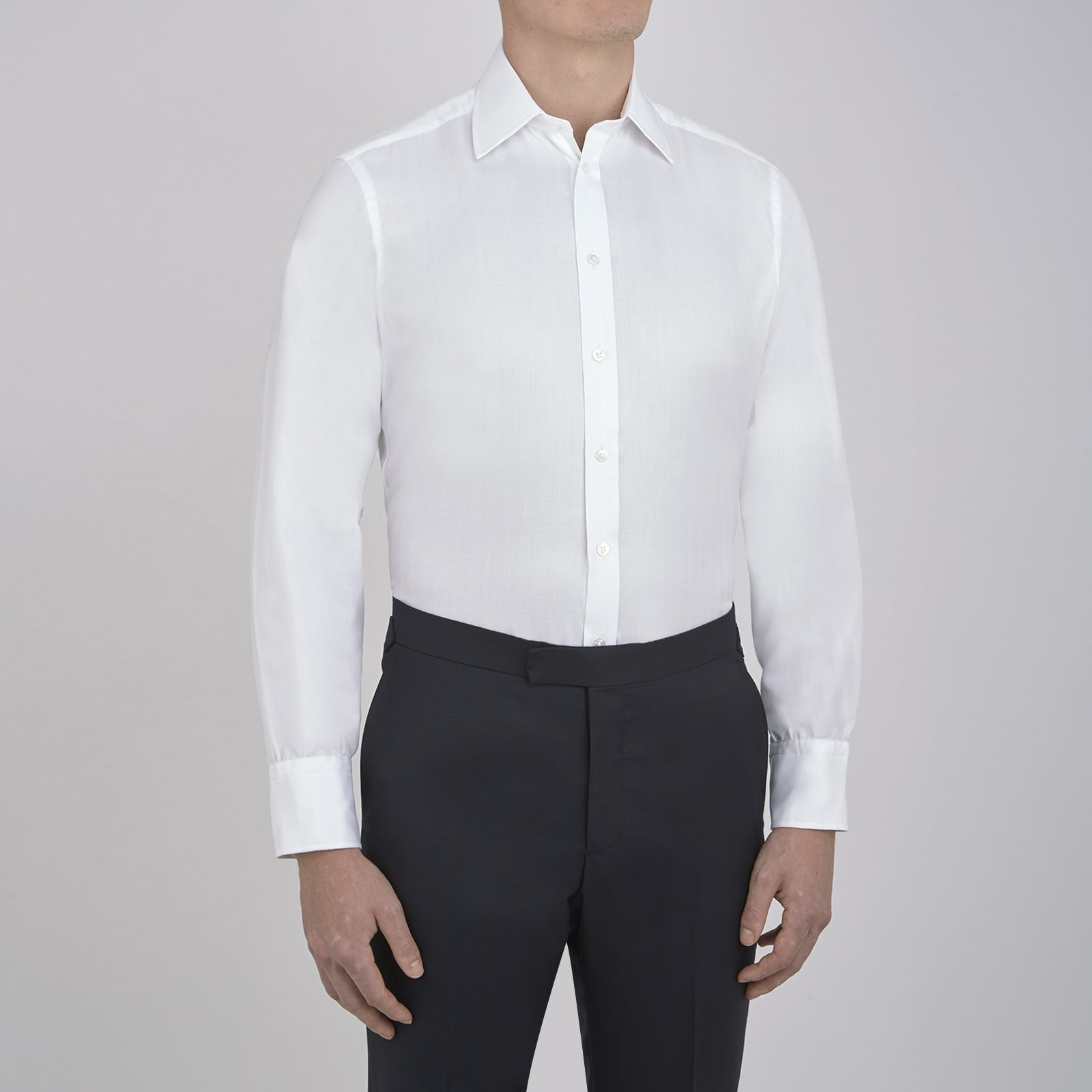 White Herringbone Superfine Cotton Shirt with T&A Collar and 3-Button Cuffs