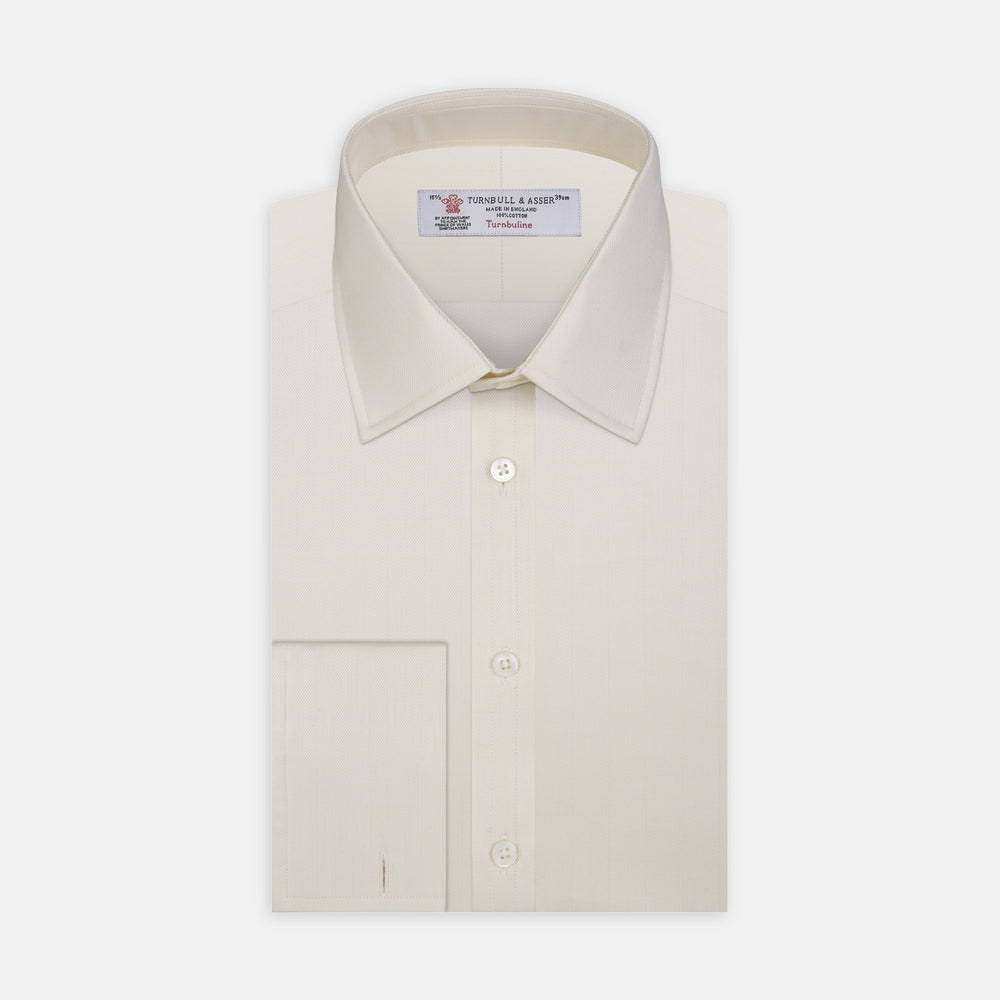 Cream Herringbone Superfine Cotton Shirt with T&A Collar and Double Cuffs