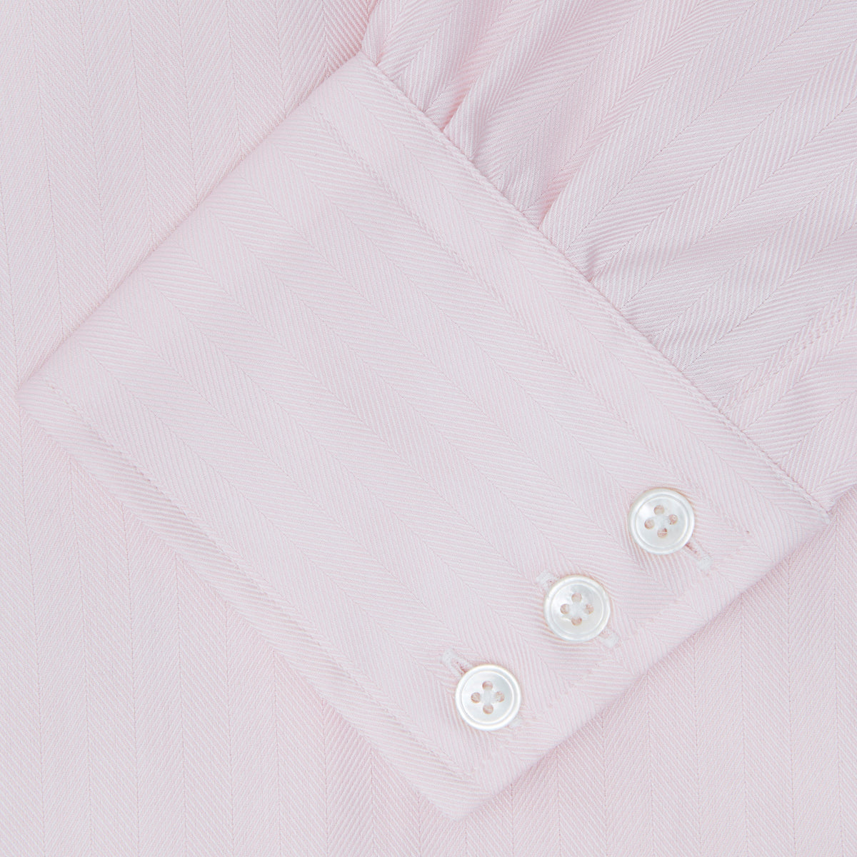 Pink Herringbone Superfine Cotton Shirt with T&A Collar and 3-Button Cuffs