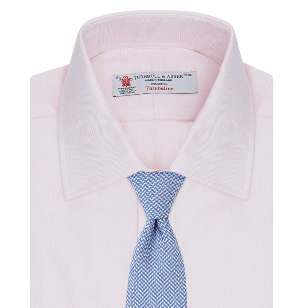 Pink Herringbone Superfine Cotton Shirt with T&A Collar and Double Cuffs