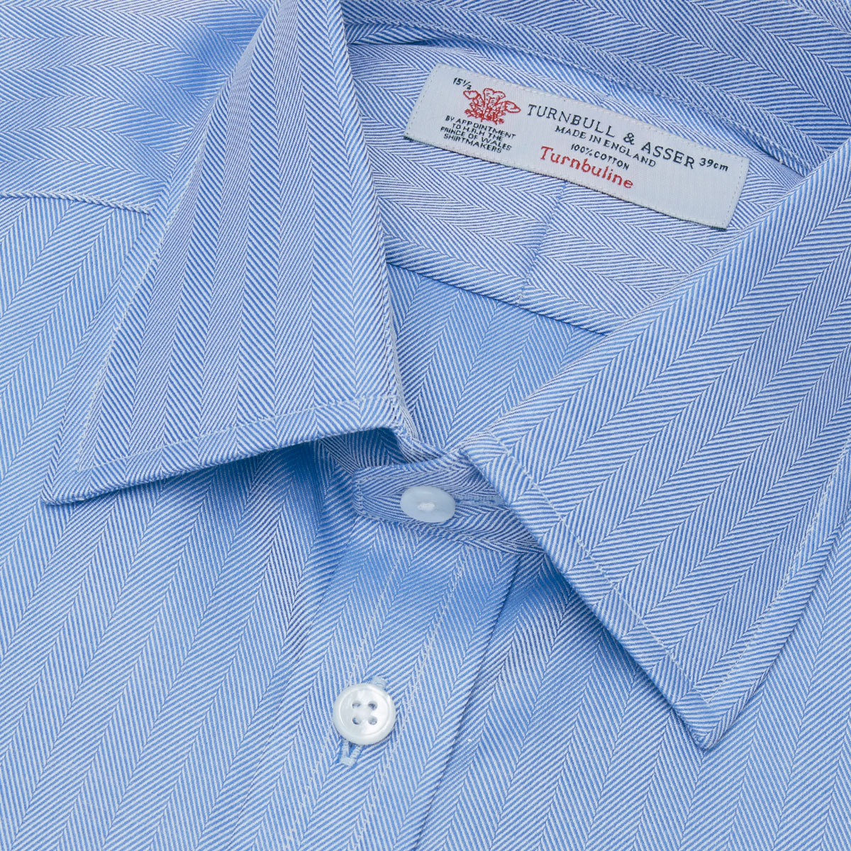 Blue Herringbone Superfine Cotton Shirt with T&A Collar and 3-Button Cuffs