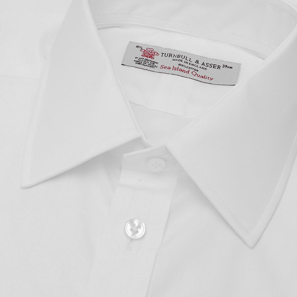 White Sea Island Quality Cotton Shirt with T&A Collar and 3-Button Cuffs