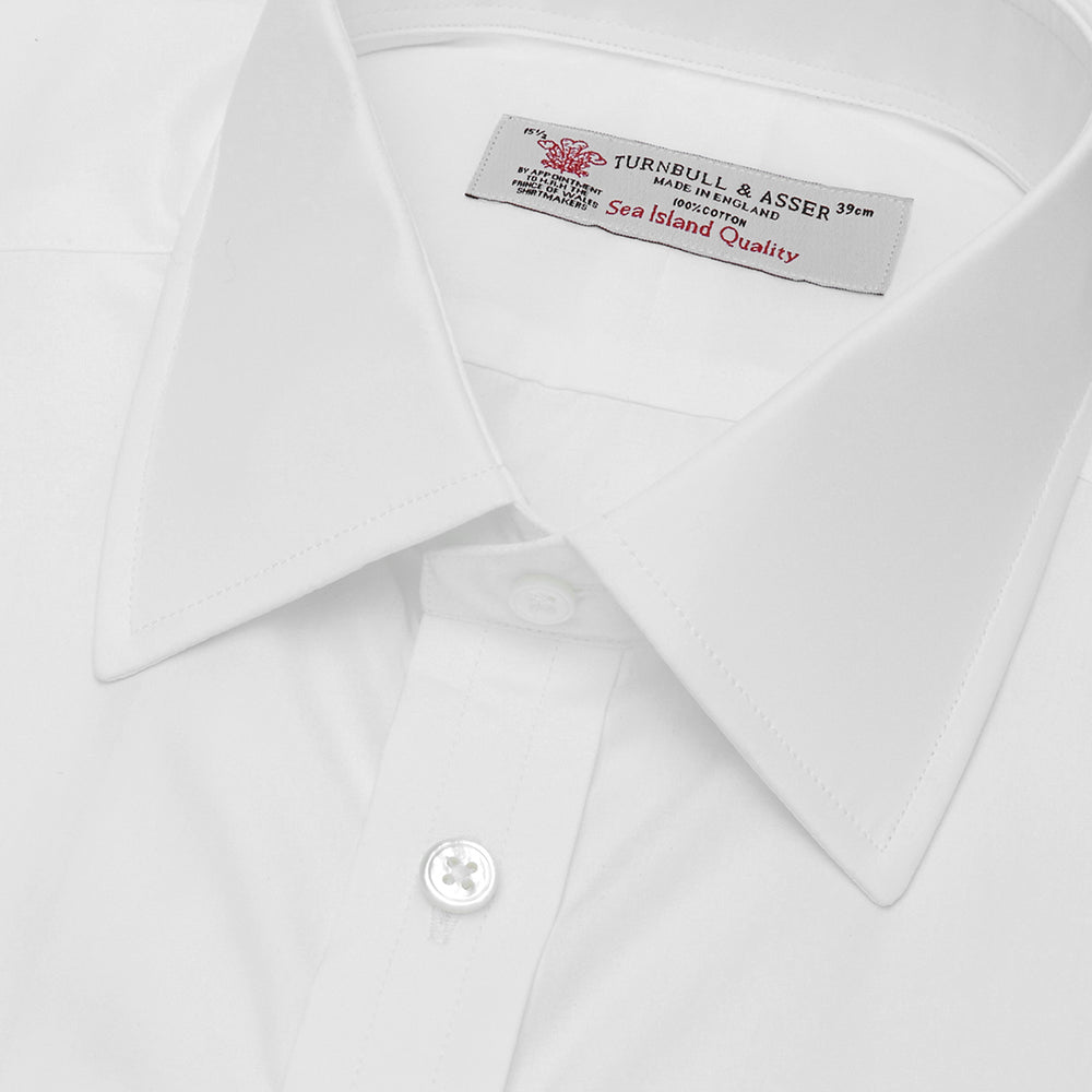 White Sea Island Quality Cotton Shirt with T&A Collar and Double Cuffs