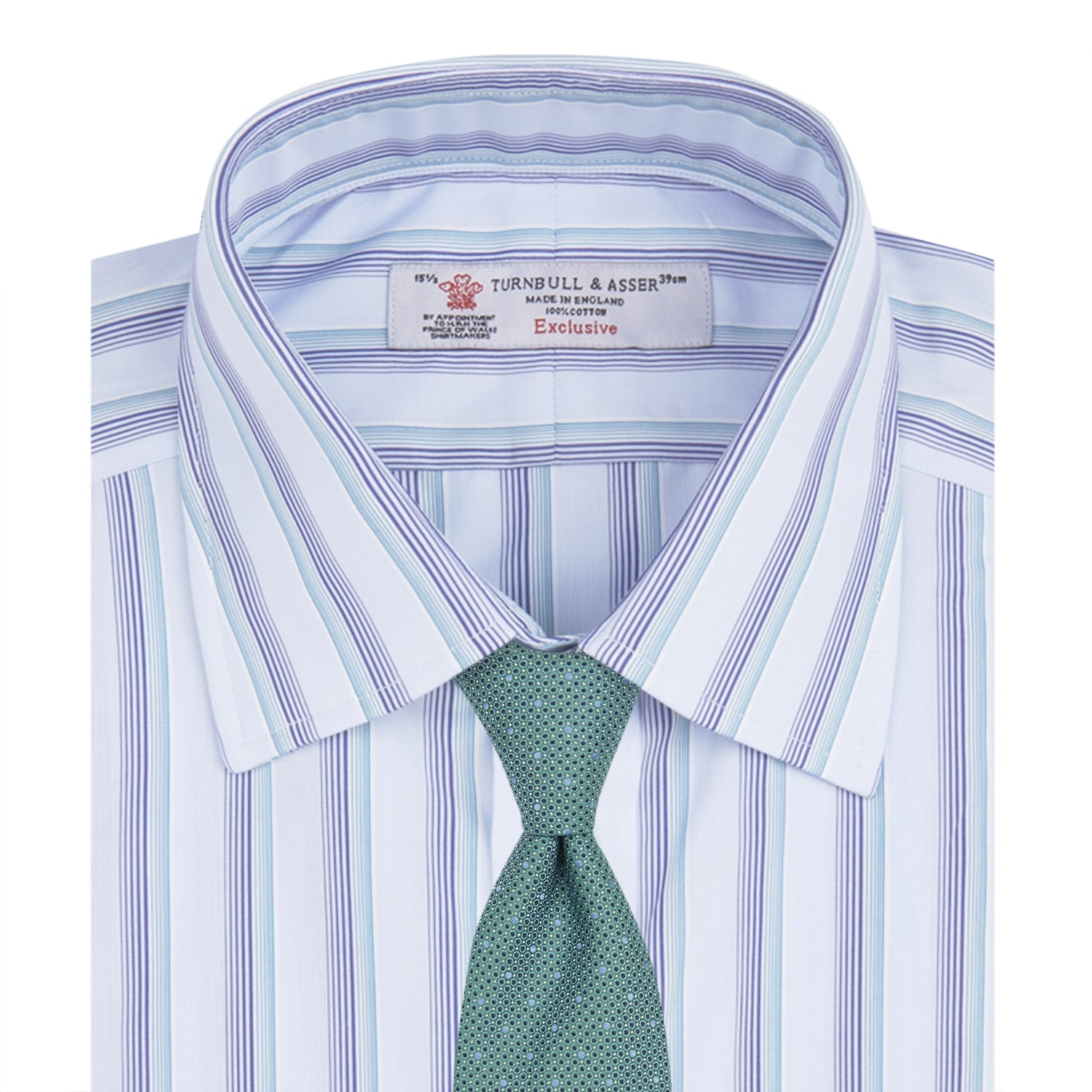 Turquoise and Navy Two Tone Stripe Shirt with T&A Collar and Button Cuffs