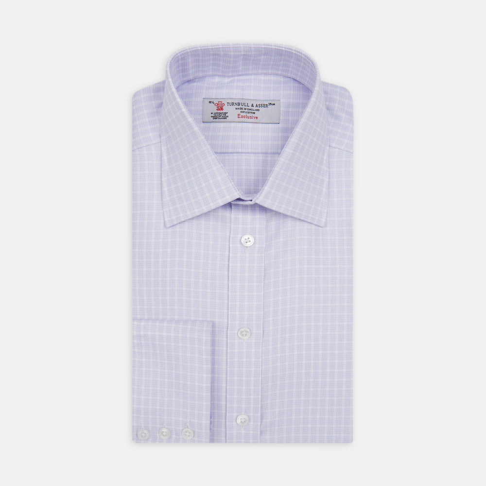 Lilac and White Twill Check Shirt with T&A Collar and Button Cuffs
