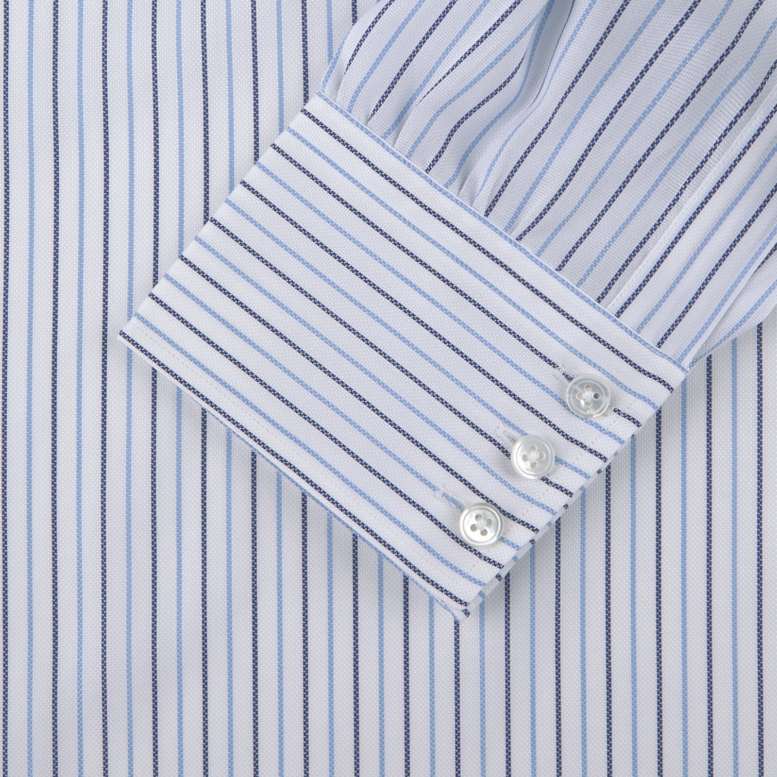 Grey and Blue Pinstripe Shirt with Classic T&A Collar and Button Cuffs
