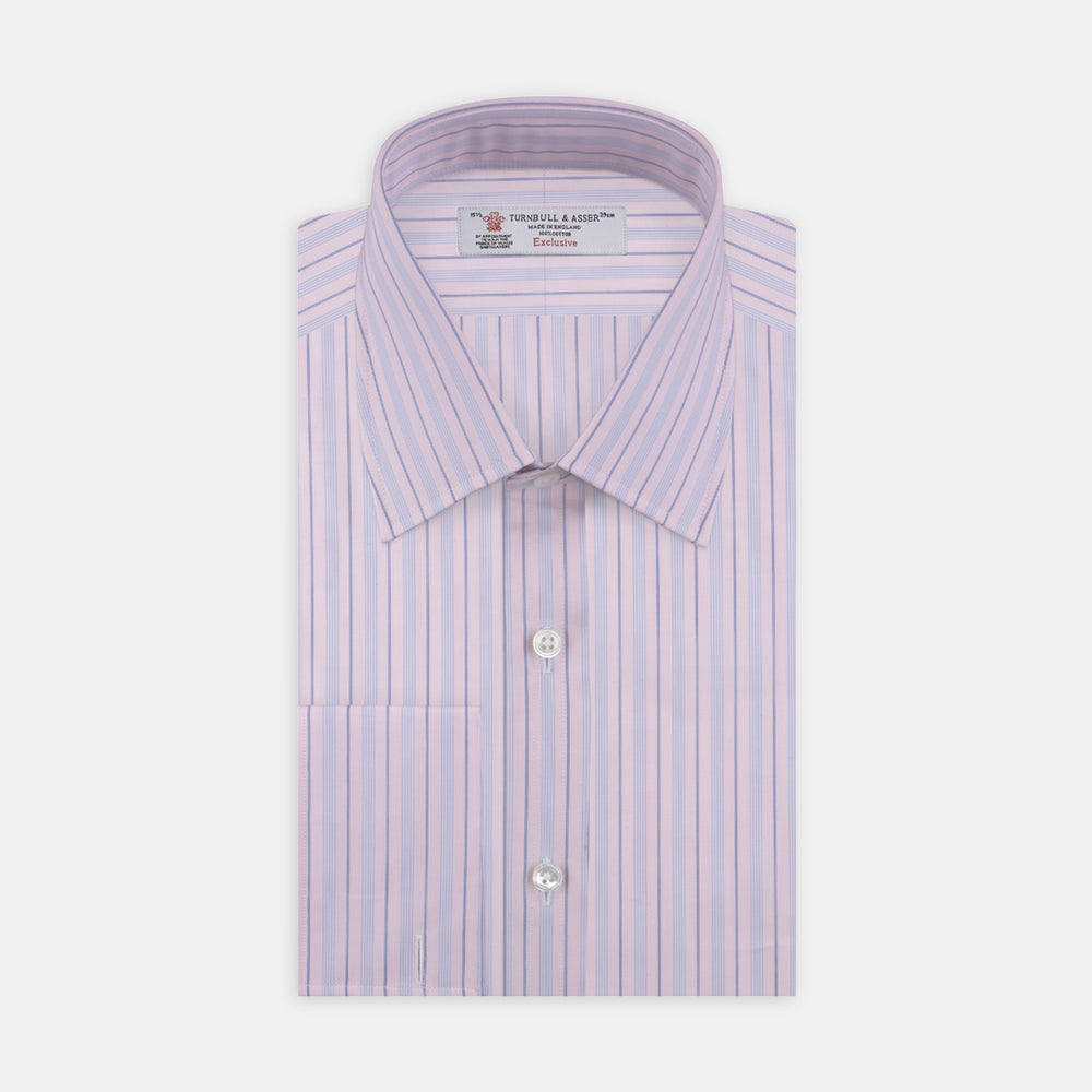 Pink and Blue Mixed Stripe Shirt with T&A Collar and Double Cuffs
