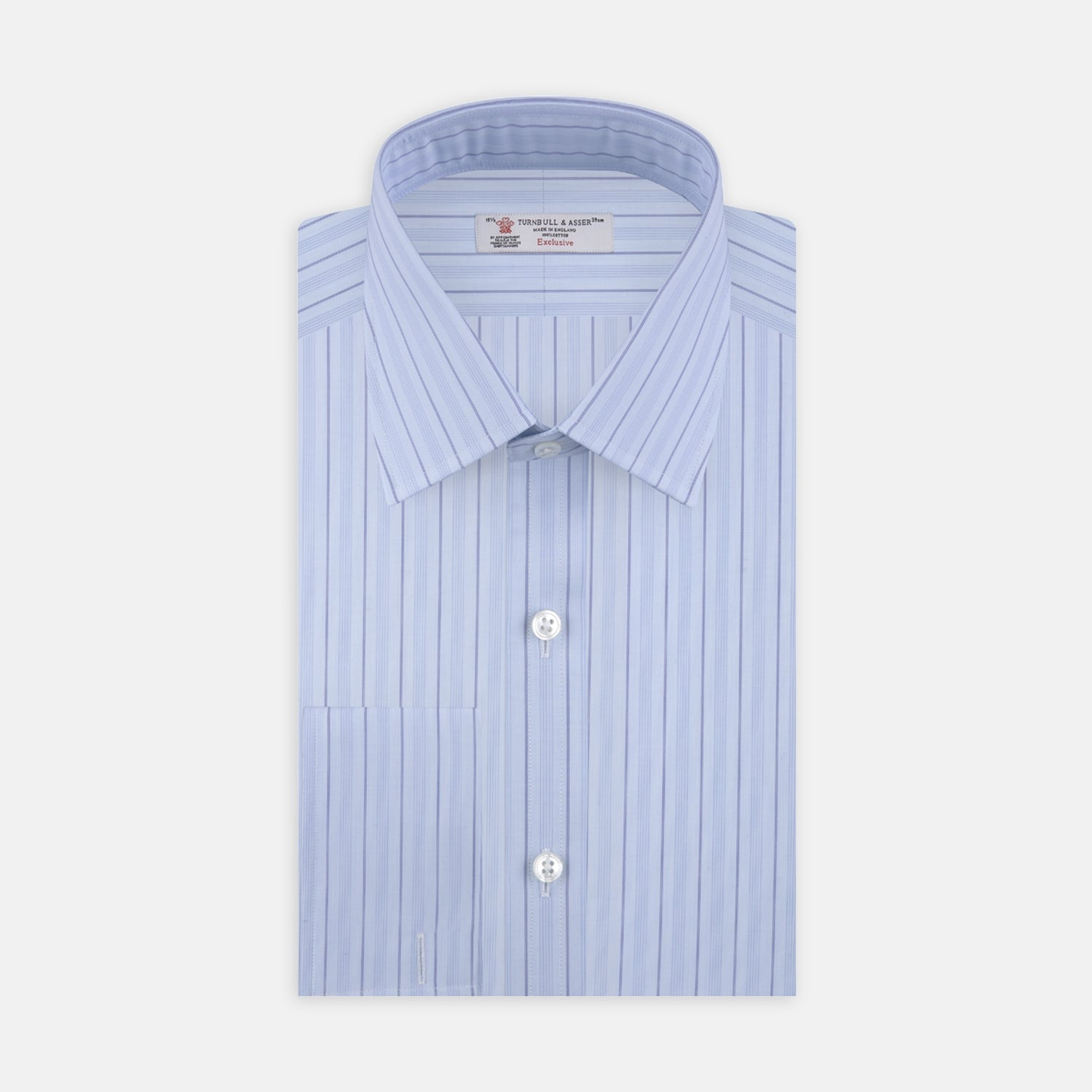 Blue Mixed Stripe Shirt with T&A Collar and Double Cuffs