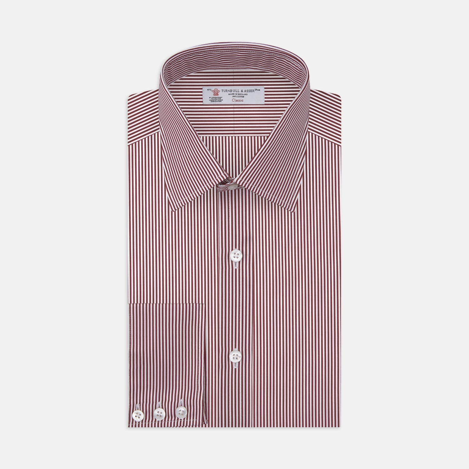 White and Burgundy Stripe Cotton Shirt with T&A Collar and 3-Button Cuffs