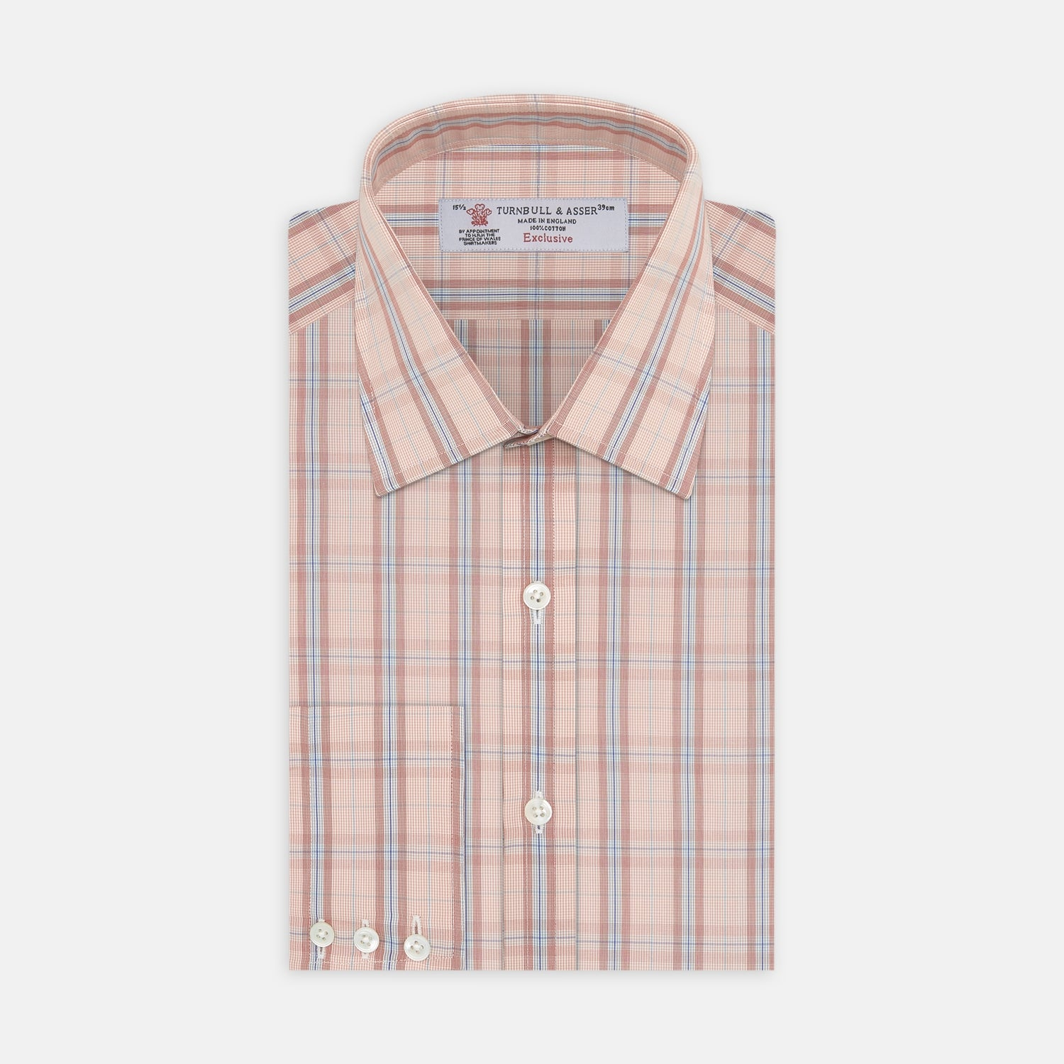 Red, Grey And Navy Mixed Check Shirt With T&A Collar And 3-Button Cuffs