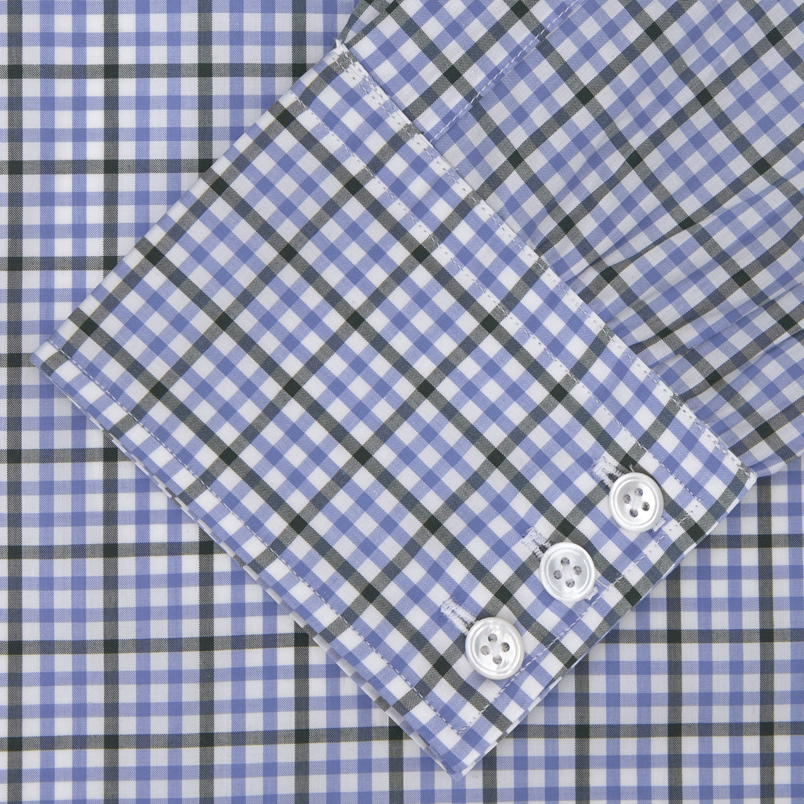 Light Blue and Grey Gingham Check Cotton Shirt with T&A Collar and 3-Button Cuffs