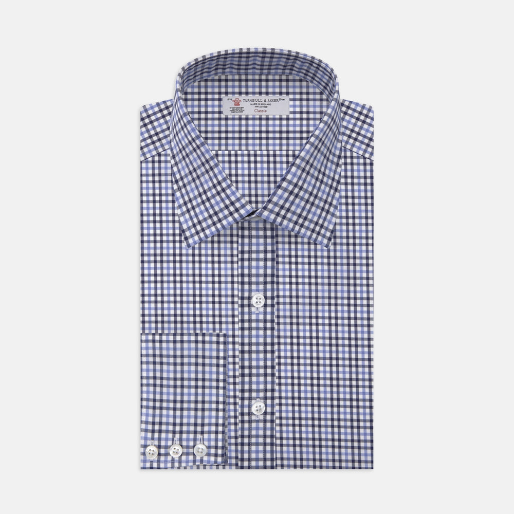 Light Blue and Navy Gingham Check Cotton Shirt with T&A Collar and 3-Button Cuffs