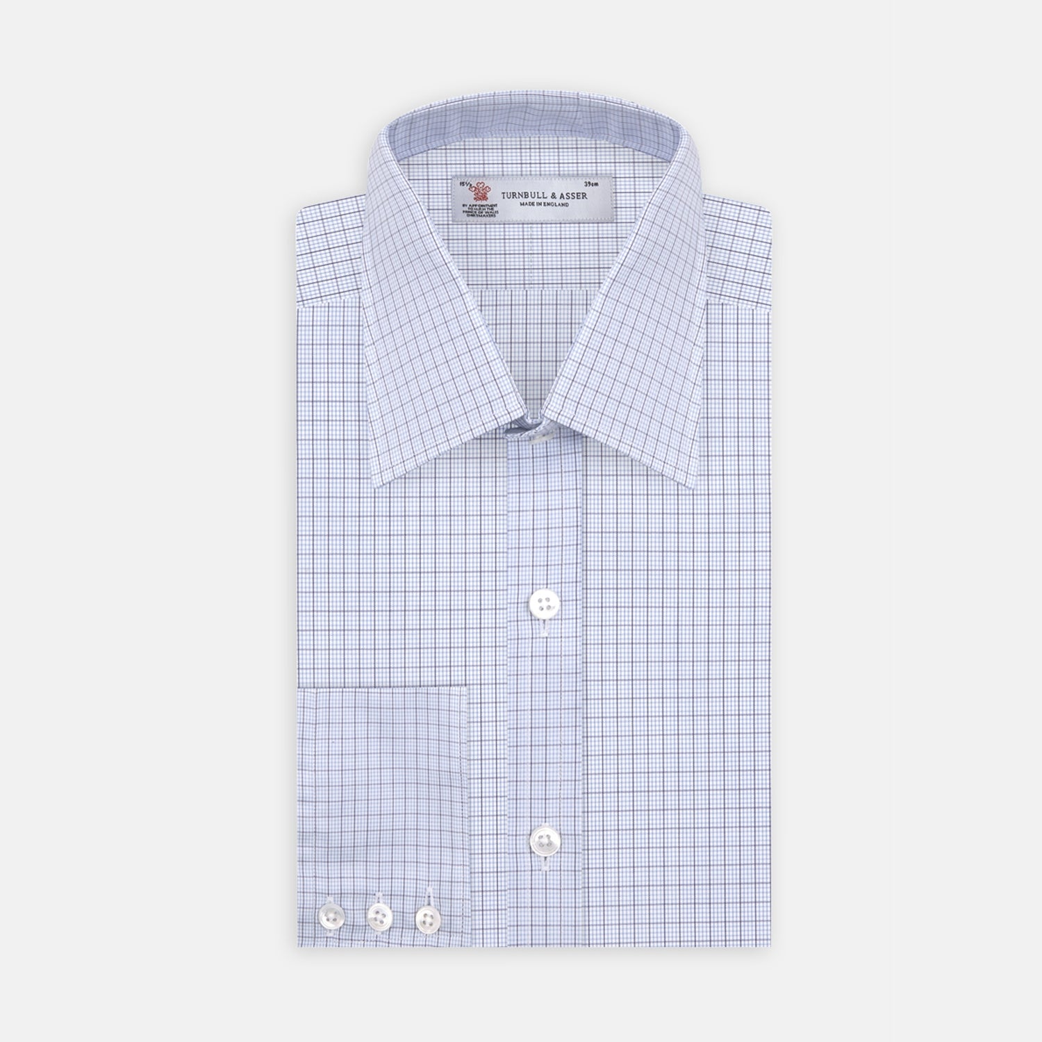 Light Blue and Navy Windowpane Check Shirt with T&A Collar and 3-Button Cuffs
