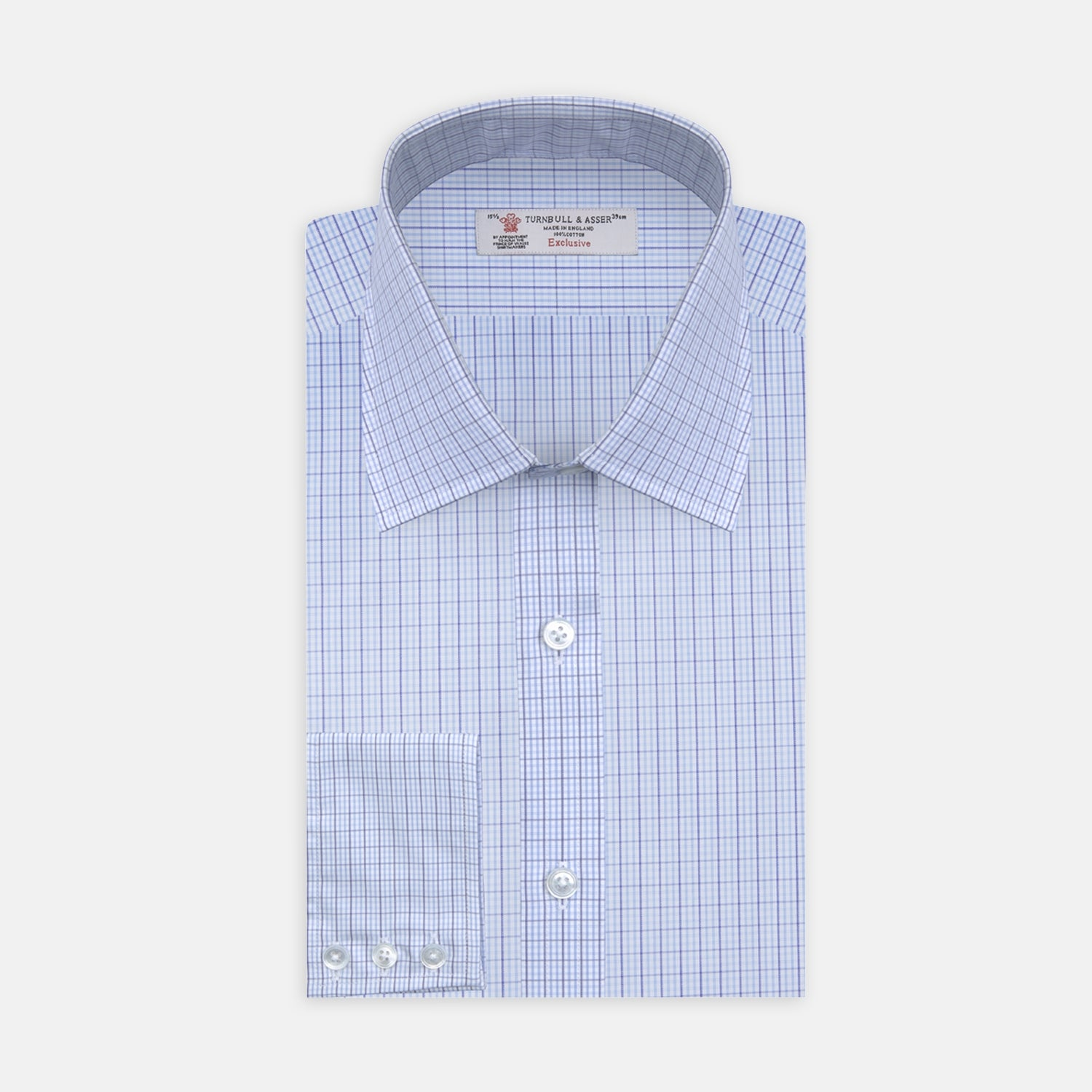Blue and White Supraluxe Check Shirt with T&A Collar and 3-Button Cuffs
