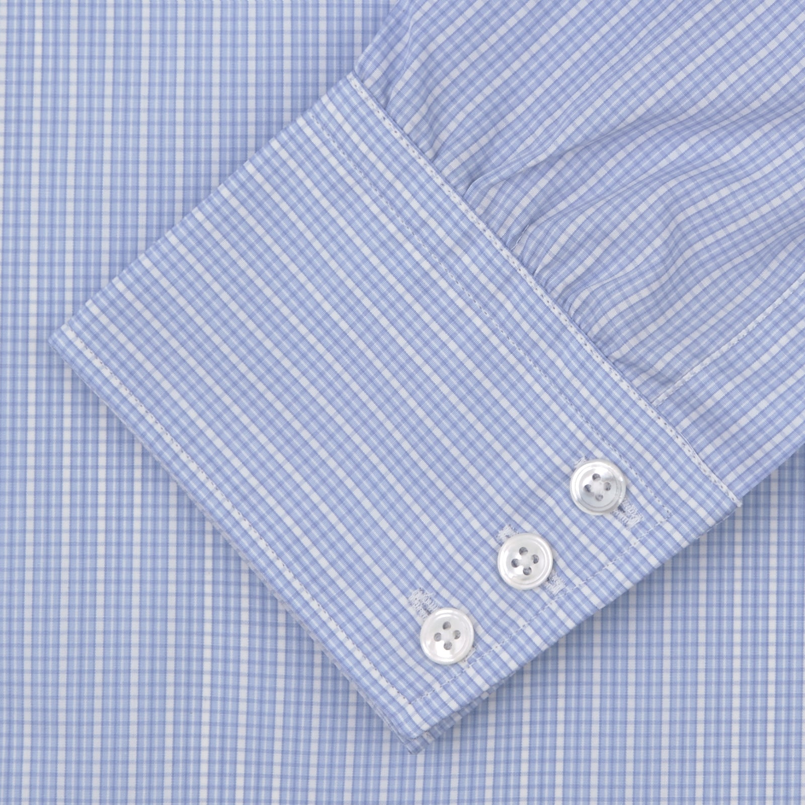 Light Blue Rich Check Shirt with T&A Collar and 3-Button Cuffs