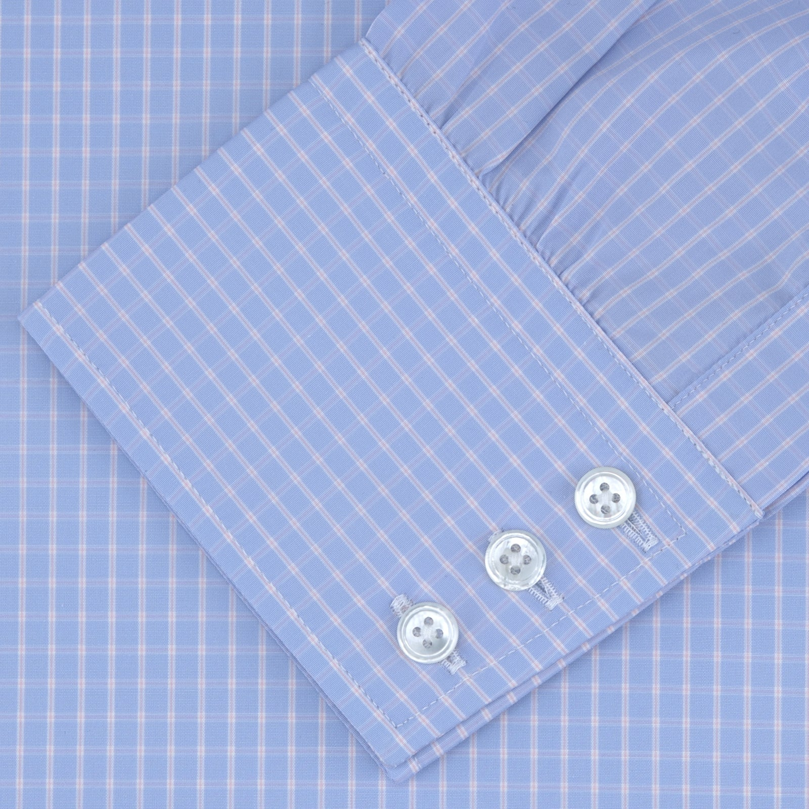 Light Blue and Pink Block Check Shirt with T&A Collar and 3-Button Cuffs