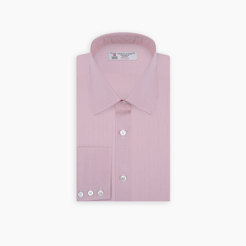 Pink Block Check Shirt with T&A Collar and 3-Button Cuffs