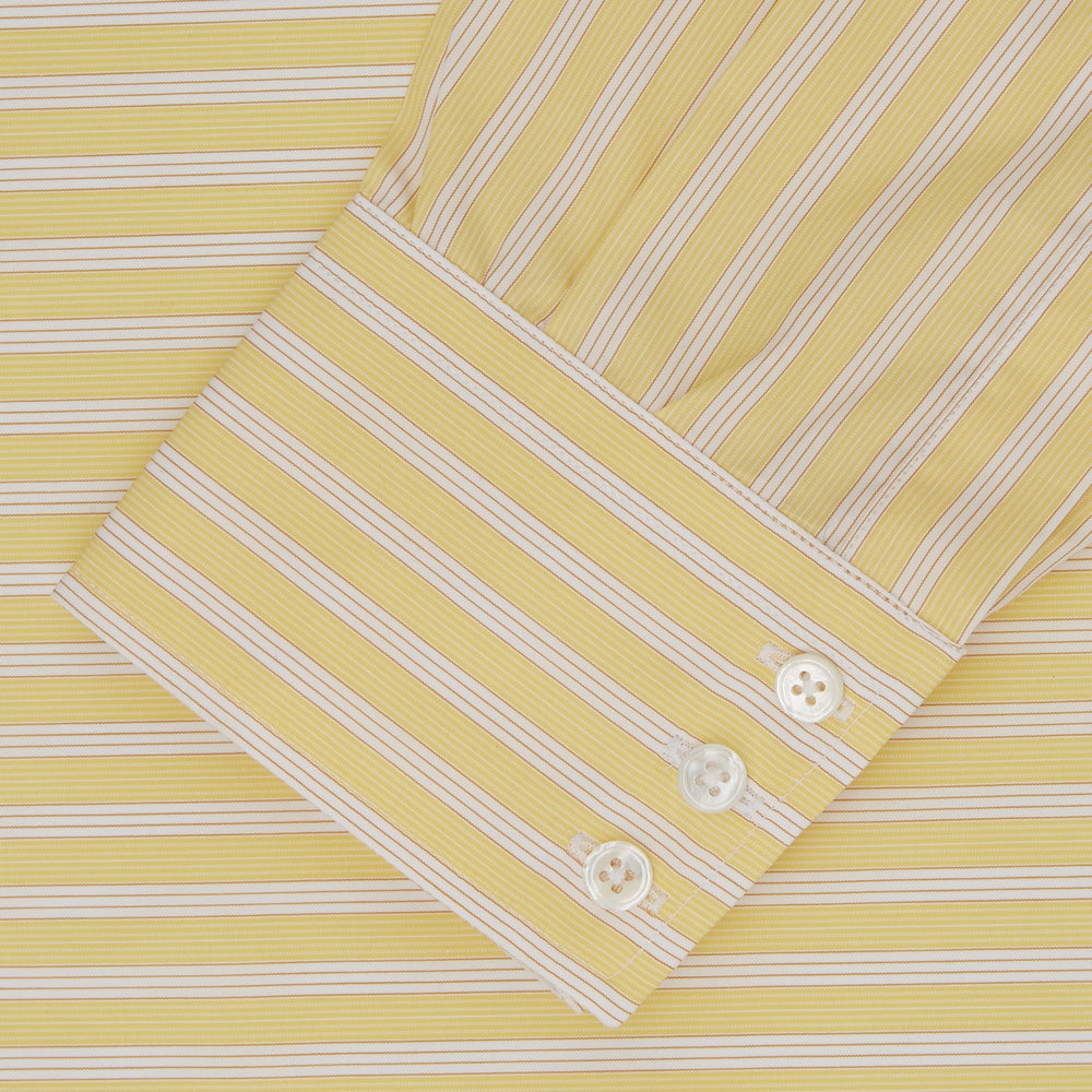 Yellow and White Bold Stripe Shirt with T&A Collar and 3-Button Cuffs