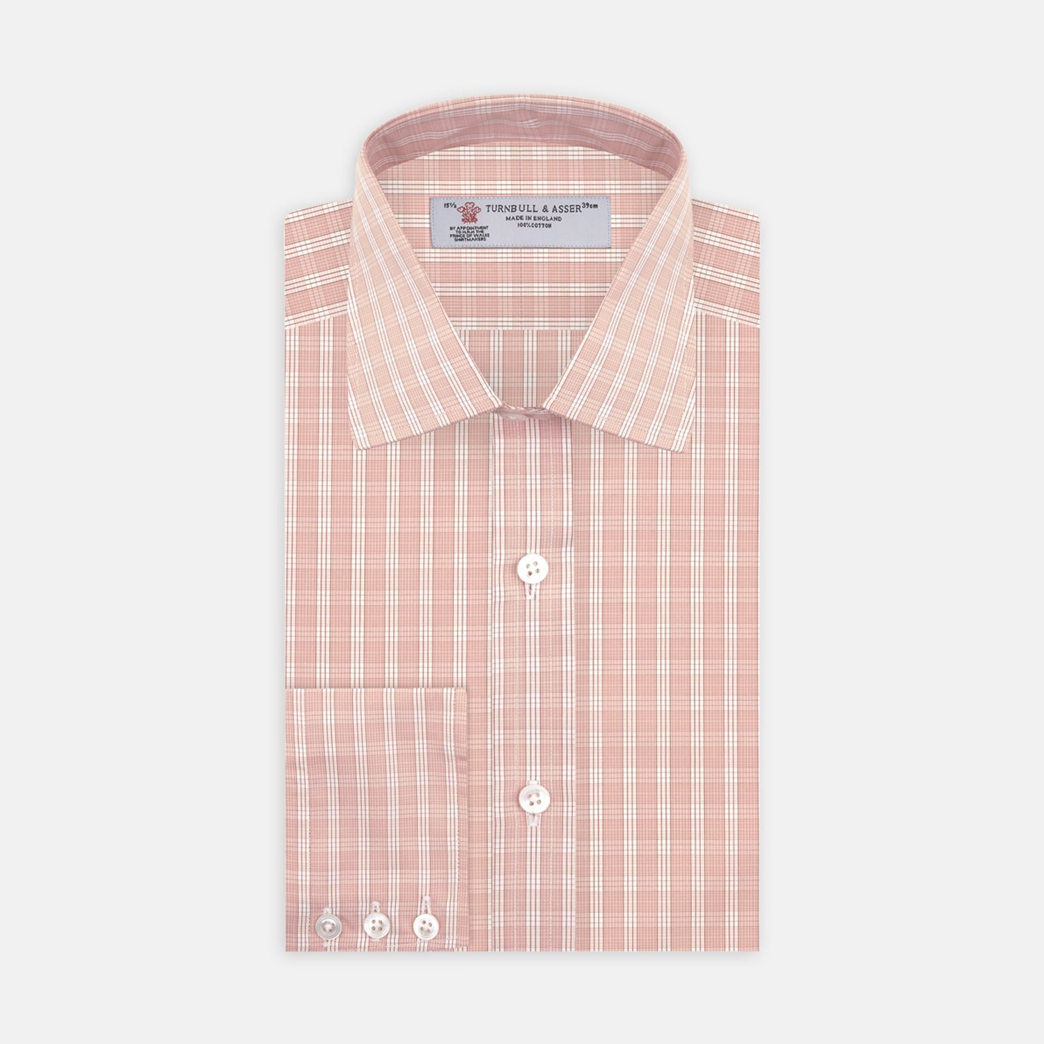 Pink and White Bold Check Shirt with T&A Collar and 3-Button Cuffs