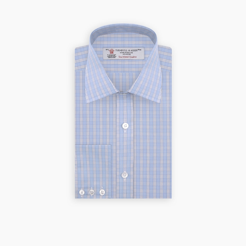 Blue and White Bold Check Shirt with T&A Collar and 3-Button Cuffs