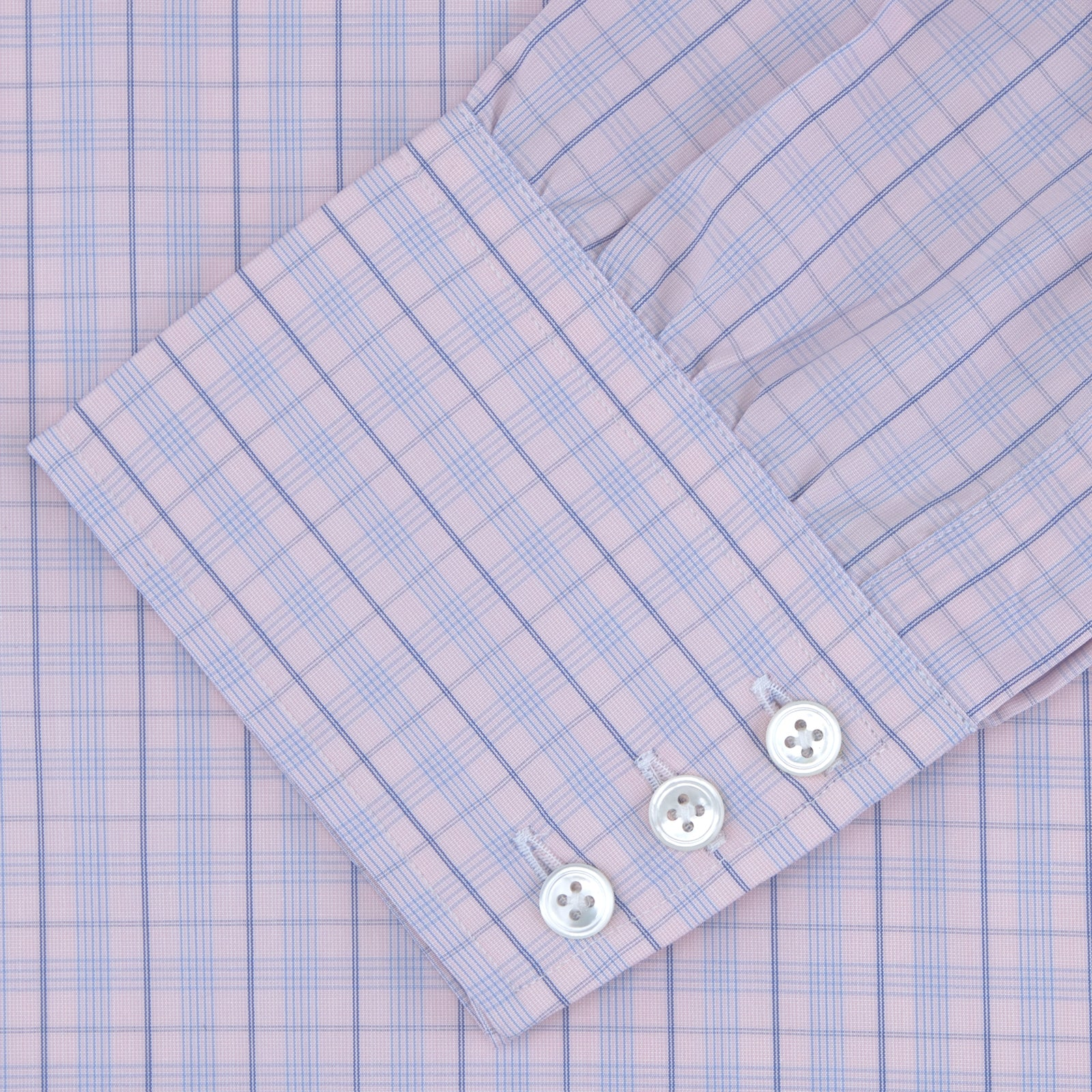 Pink and Blue Windowpane Check Shirt with T&A Collar and 3-Button Cuffs