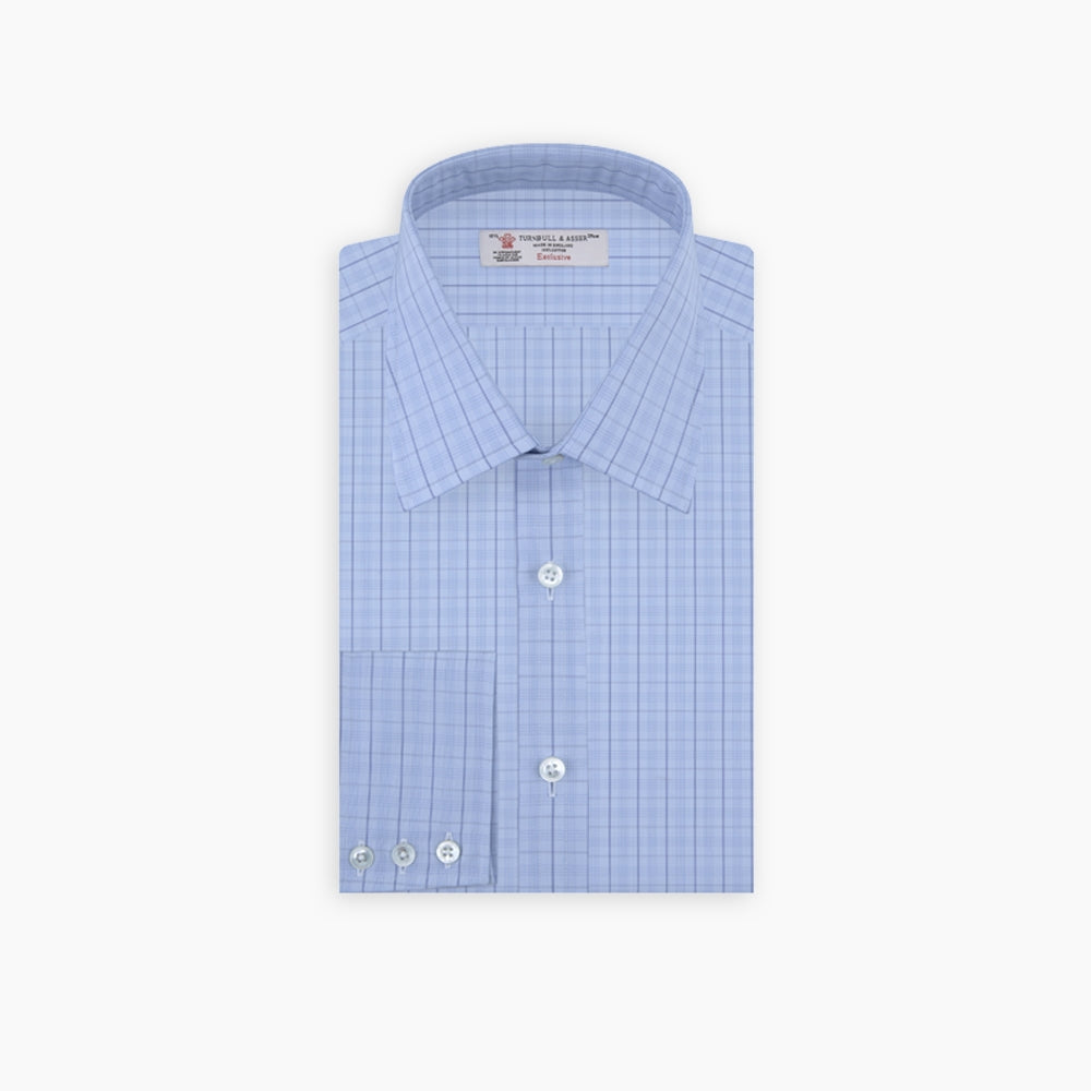 Blue Windowpane Check Shirt with T&A Collar and 3-Button Cuffs