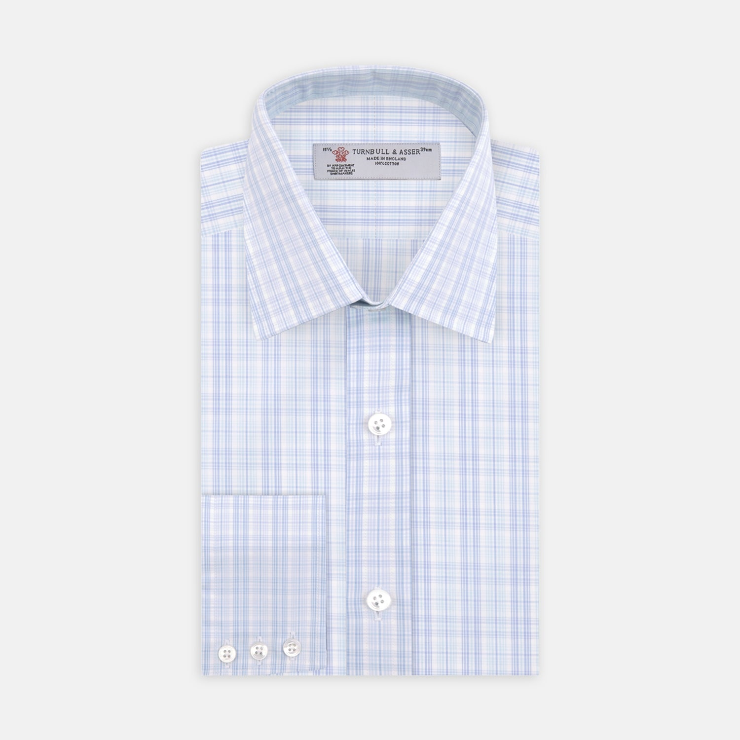 Blue and Green Business Plaid Check Shirt with Classic T&A Collar and 3-Button Cuffs