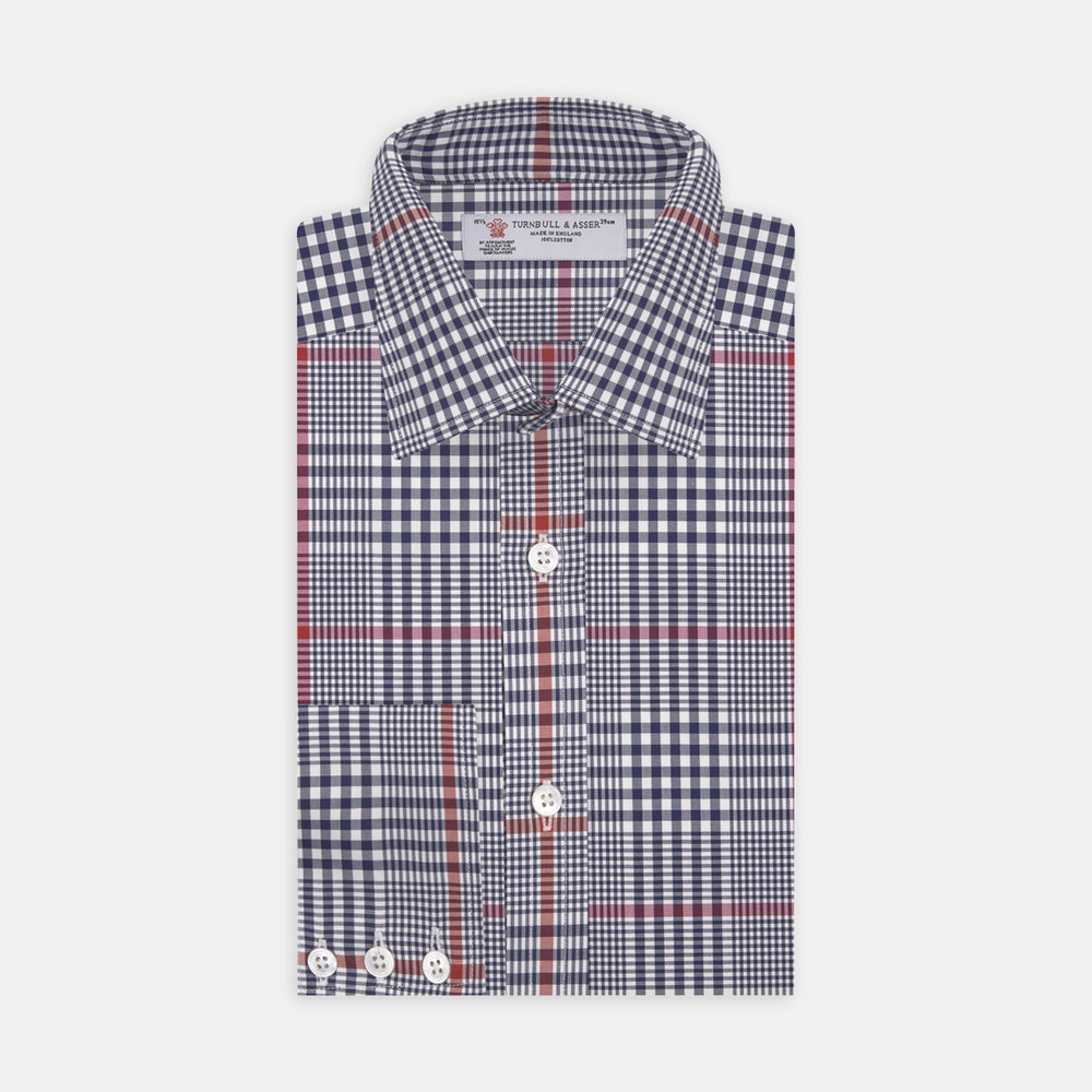 Navy and Red Archive Check Shirt with T&A Collar and 3-Button Cuffs
