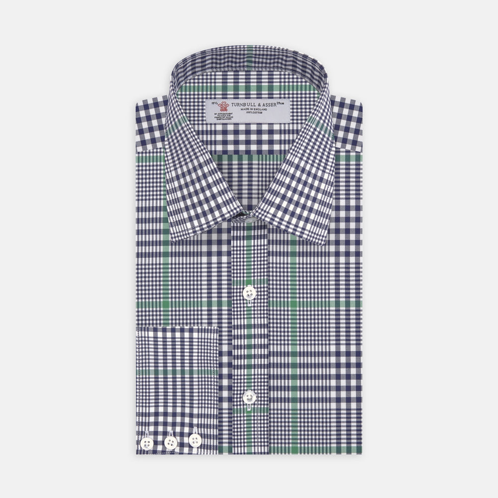 Navy and Green Archive Check Shirt with T&A Collar and 3-Button Cuffs