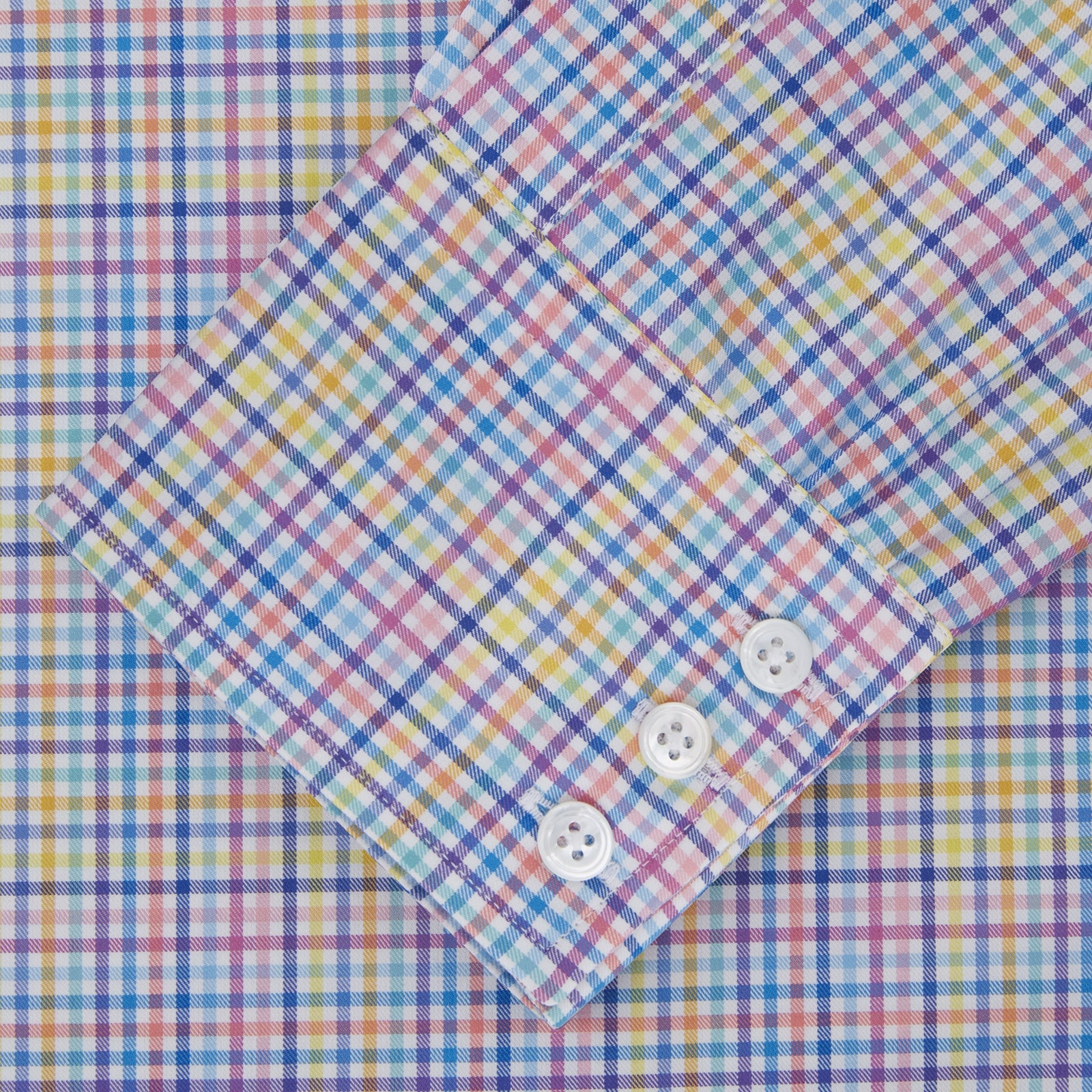 Multicoloured Graph Check Shirt with T&A Collar and 3-Button Cuffs