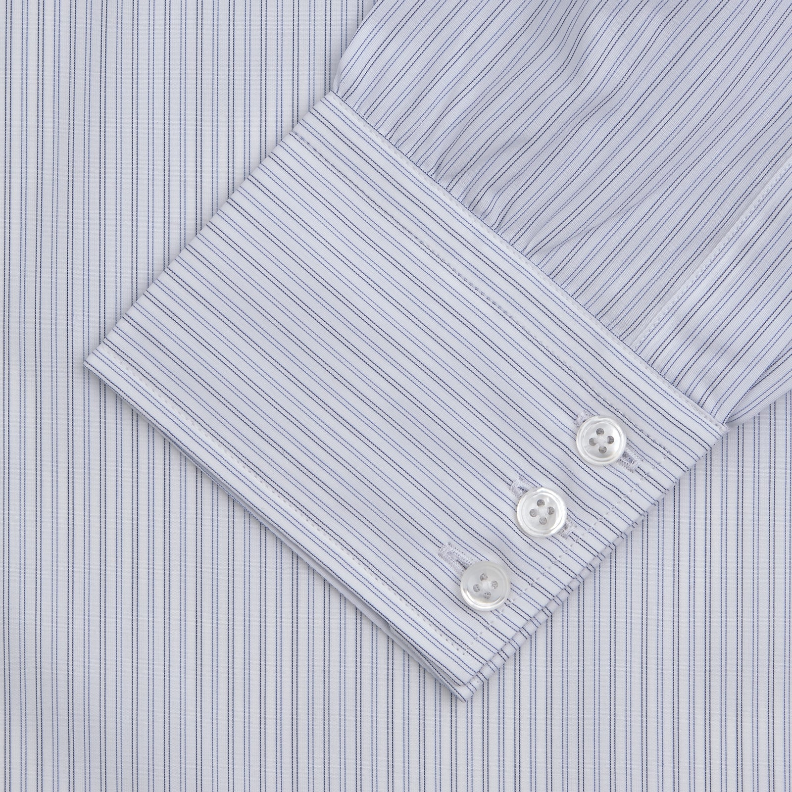 Light Blue Double Stripe Sea Island Quality Cotton Shirt with T&A Collar and 3-Button Cuffs
