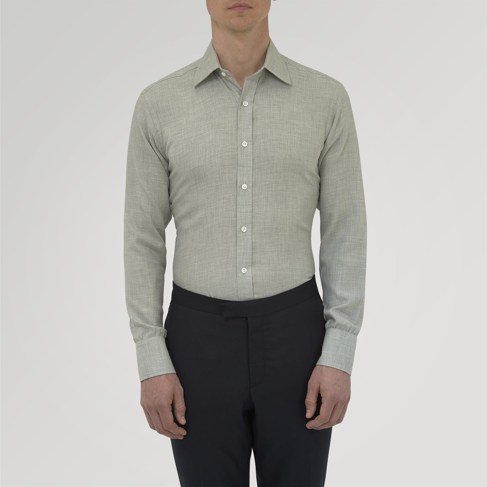 Grey Cashmere Blend Shirt with T&A Collar and 3-Button Cuffs