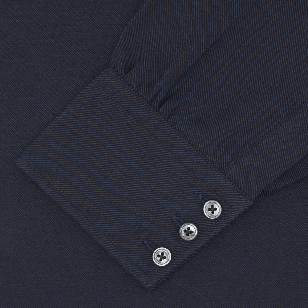 Navy Cashmere Blend Shirt with T&A Collar and 3-Button Cuffs