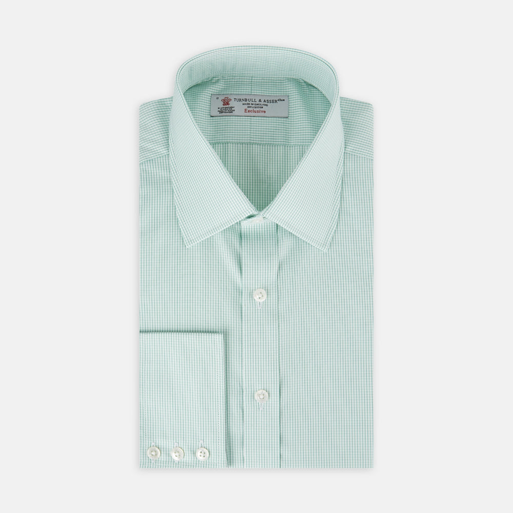 Sea Green Highlight Check Shirt with T&A Collar and 3-Button Cuffs