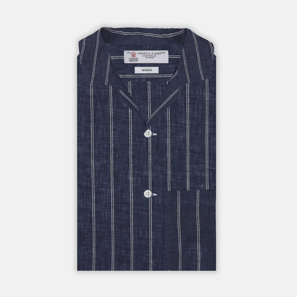 Holiday Fit Stripe Linen Short Sleeve Shirt with Revere Collar