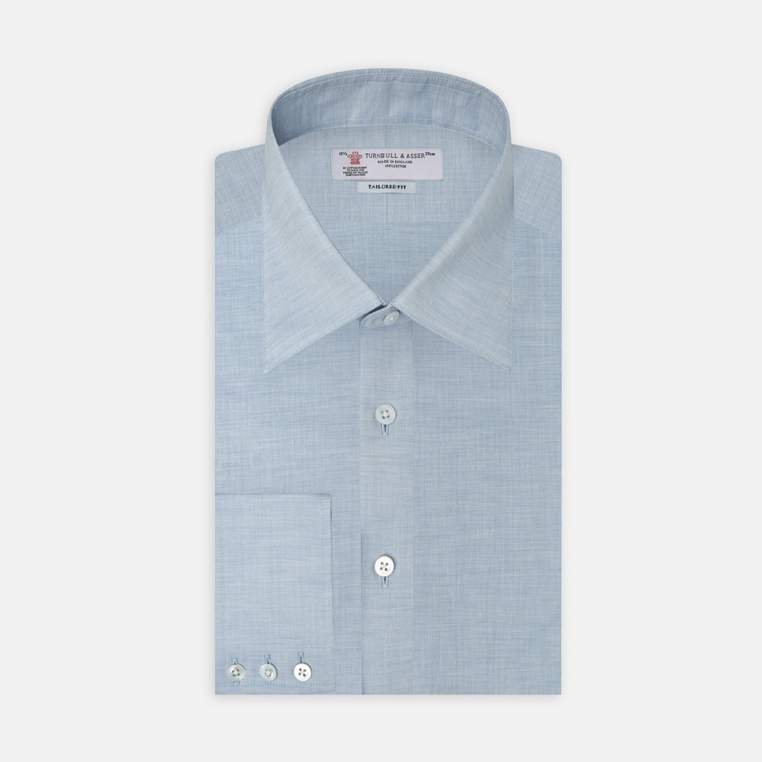 Light Blue Flannel Shirt with Bury Collar and 3-Button Cuffs