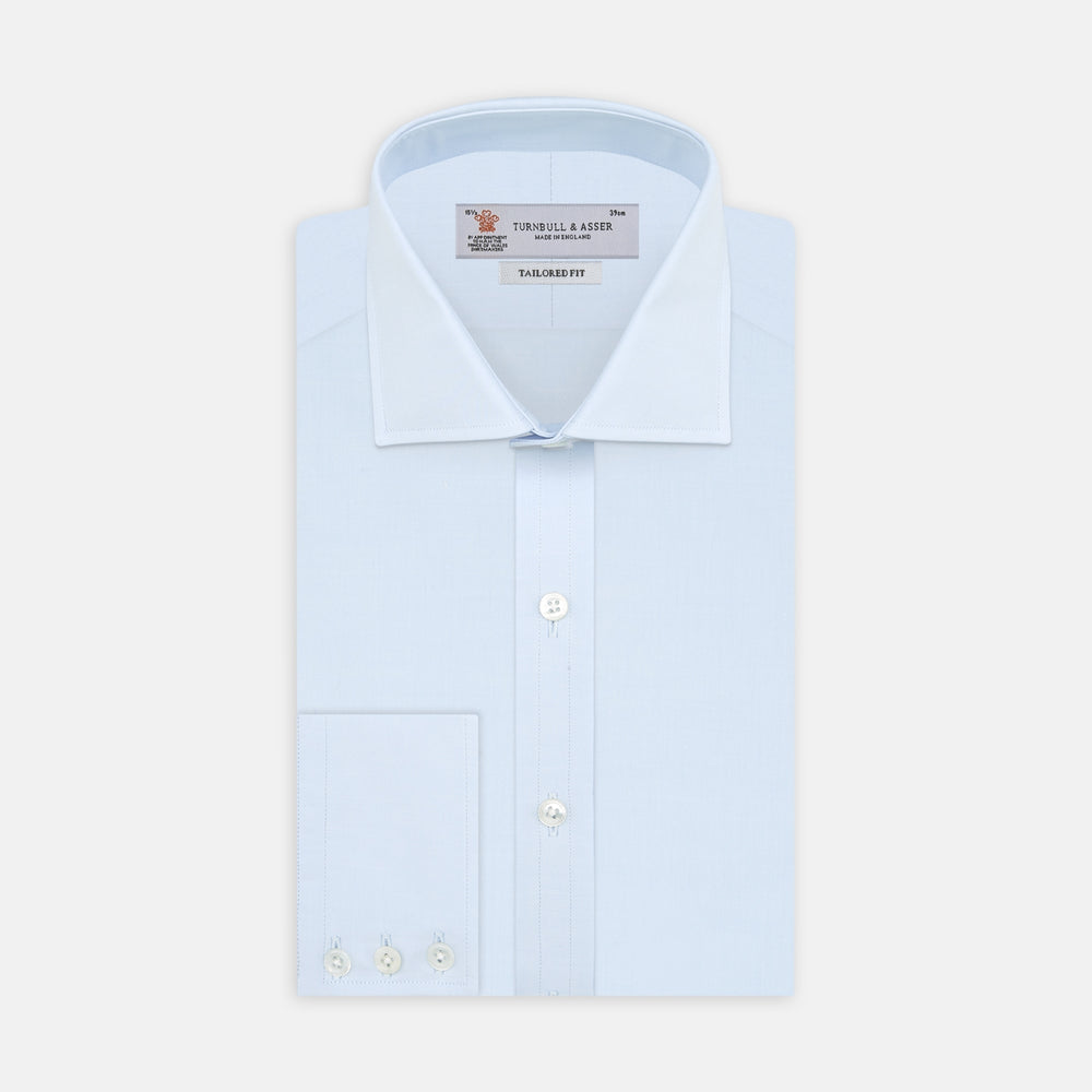 Tailored Fit Two-Fold 120 Light Blue Shirt with Kent Collar and 3-Button Cuffs