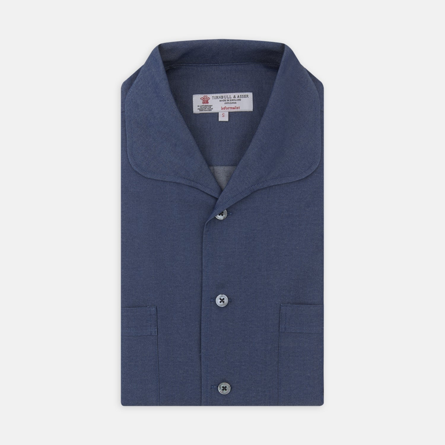 Rockland Indigo Cotton Shirt with Resort Collar and Short Sleeves
