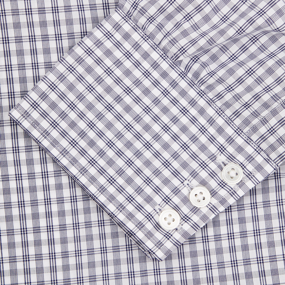 Navy and White Multi Check Sea Island Quality Cotton Shirt with Classic T&A Collar